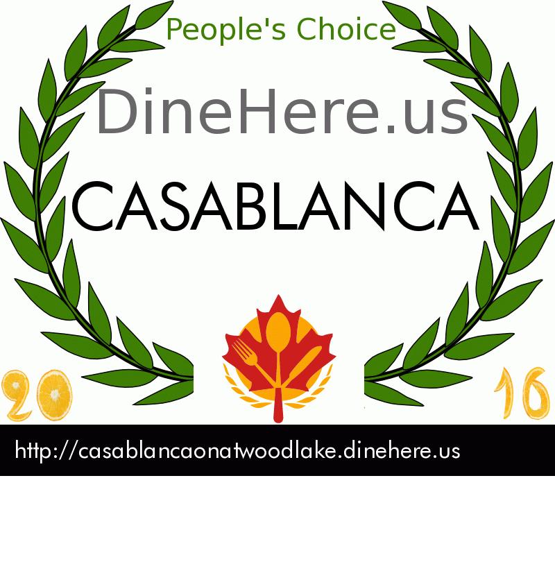 CASABLANCA DineHere.us 2016 Award Winner